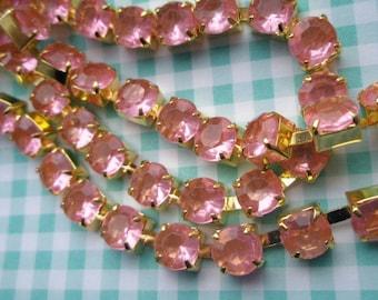 Clear Pink rhinestone chain ( Gold tone ) 7mm stone 50cm