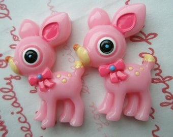 Mimi Lo Lo Exclusive Lovely Fawn Deer cabochons 2pcs PINK ME-2