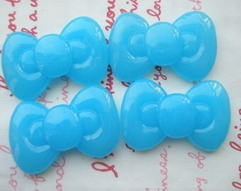 SALE Cute Round Chunky bow cabochons 4pcs Clear Blue  ME