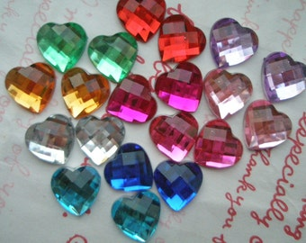 Colorful  Faceted Heart cabochons 20pcs 12mm