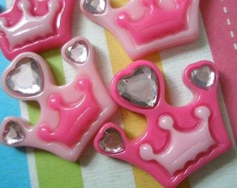 SALE SALE SALE Pink Crown with heart shaped rhinestones Set 2pcs
