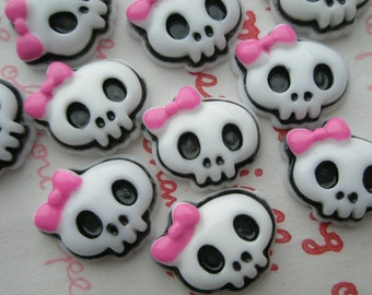 SALE Small Skull with Pink bow cabochons 10pcs