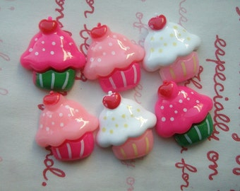 Solid color cupcake cabochons Set  6pcs