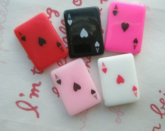 Resin play cards cabochons ( Ace ) 5pcs
