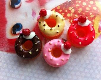 SALE Doughnut cabochons 4pcs ( Cream Strawberry topping )
