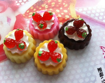 Miniature Strawberry Tart cabochons 4pcs Set B