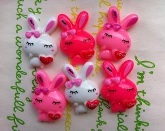 sale Love bunny cabochons set 6pcs