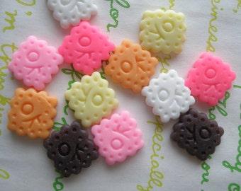 sale Tiny OK cookie biscuit cabochons Set 12pcs
