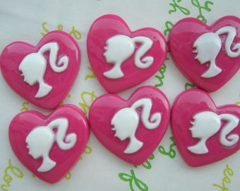SALE Ponytail Barbie Girl Heart cabochons 6pcs DARK PINK