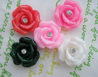 sale Glitter ROSE with Rhinestone in the middle 5pcs 20mm
