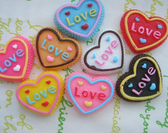 SALE Colorful Heart shaped  cookie biscuit cabochons SET 8pcs (Love)