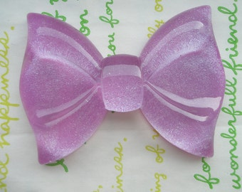 sale GLITTER Huge  bow cabochon 1pc  Purple