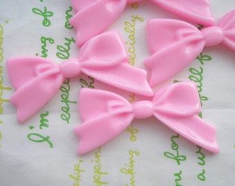 Plain Tied bow cabochons 4pcs Pop Pink
