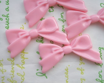 Plain Tied bow cabochons 4pcs Baby Pink