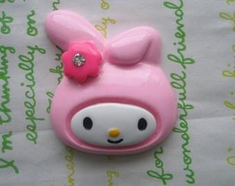 Big Bunny cabochon 1pc 43mm x 40mm Light Pink (round )