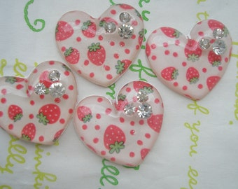 sale Strawberry Print Heart cabochons set 4pcs (3 rhinestones )