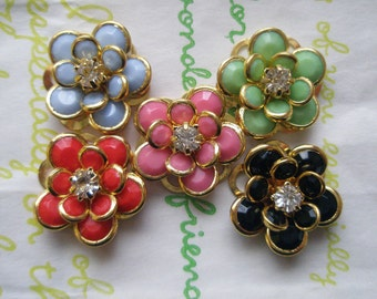 sale Small Fancy Flower cabochons Set 5pcs SET B GOLD Frame LIMITTED