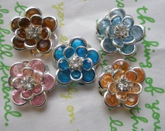 sale CLEAR Small Fancy Flower cabochons Set 5pcs Set B SILVER Frame LIMITTED