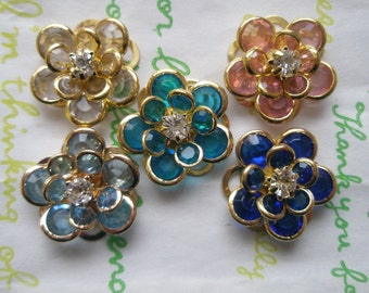 sale CLEAR Small Fancy Flower cabochons Set 5pcs Set A GOLD Frame LIMITTED