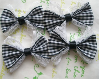 Lacey Gingham bows 4pcs Black