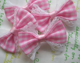 Lacey Gingham bows 4pcs Pink