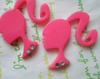 SALE BIG Ponytail barbie cabochon with rhinestones Set B 2pcs Hot pink