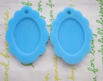 Glossy Lacey cameo setting frame 2pcs Sky Blue Fits 25mm x 15mm cameo