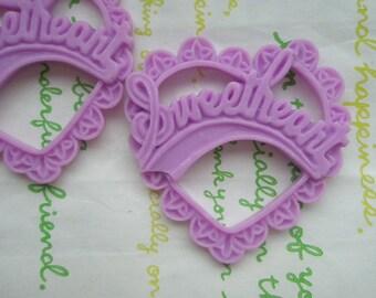 Resin Heart pendant SweetHeart 2pcs Matte Purple 47mm x 45mm