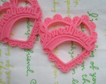 Resin Heart pendant SweetHeart 2pcs Matte Dark Pink 47mm x 45mm