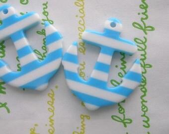 Acrylic  striped  ANCHOR charms 2pcs Blue