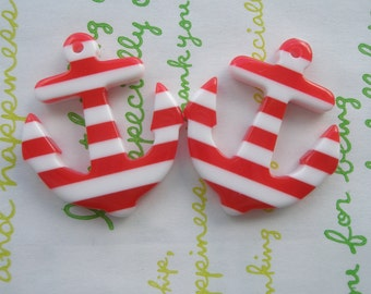 Acrylic  Striped ANCHOR charms 2pcs RED