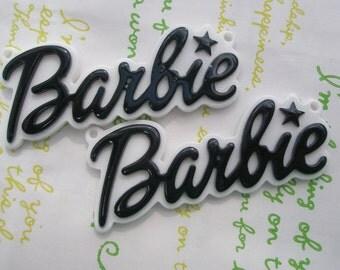 Large Barbie Plate pendant charms 2pcs Black 64mm x 27mm
