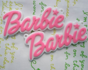 Large Barbie Plate pendant charms 2pcs Hot Pink 64mm x 27mm