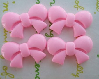 Round Tied bow cabochons 4pcs  Pink  25mm x 16mm