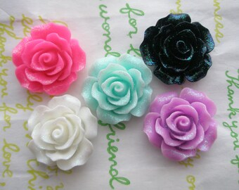 Rose cabochons 5pcs Set B 20mm GLITTER