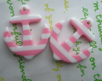 Acrylic  striped  ANCHOR charms 2pcs Pink