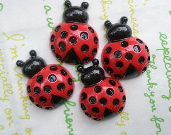 Red Ladybug cabochon Set 4pcs