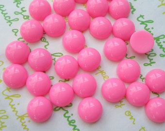 SALE Opaque Resin Dome Cabochons 10.5mm 20pcs Pink