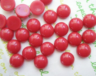 SALE Opaque Resin Dome Cabochons 10.5mm 20pcs Bloody Red