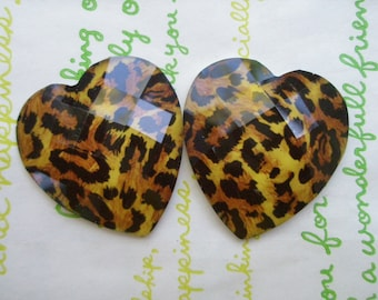 sale LEOPARD heart  cabochons Set 2pcs