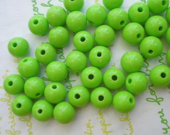 PLAIN acrylic Beads 25pcs Size 10mm Bright Green