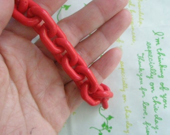 SALE Large Funky Acrylic chain links  Size 19mm x 14mm  40pcs RED