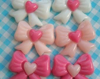 Cute Bow and Hearts cabochons Set 6pcs T-2