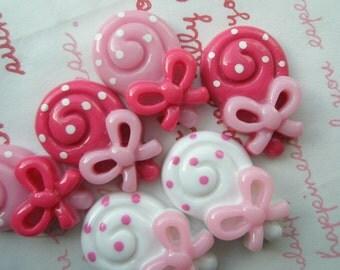 POLKA DOTS  Spiral candy bars  3 colors 6pcs Size-M