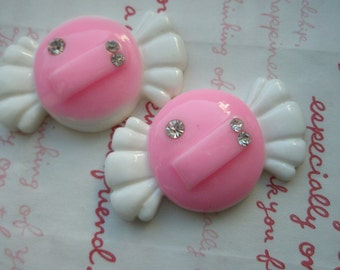 sale Large Pink Candy with rhinestones 2pcs