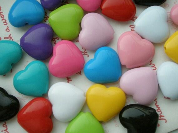 Big Puffy Heart BEADS ASSORTED COLORS 10pcs