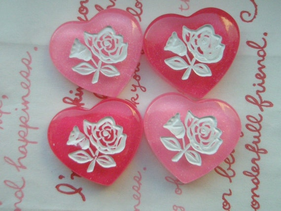 Dollar sale Rose on Pink Glitter Heart cabochons  Set 2colors 4pcs