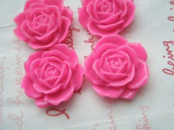 SALE Big Rose Cabochons Set 4pcs  24mm TA-A4 Hot PINK