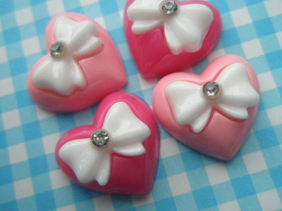 PINK Puffy Heart cabochon with bow and rhinestone Set 4pcs
