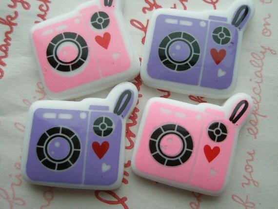 SALE Cute Retro Camera cabochons Set 4pcs Purple and Light Pink